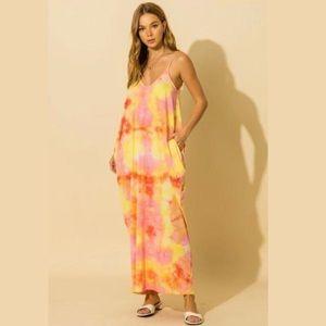 Yellow Tie-Dye Maxi Dress